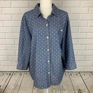 KAREN SCOTT Button Front Polka Dot Shirt XL